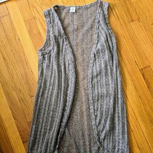 Long Open Knit Tunic Sweater Vest M